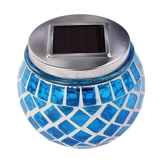 LEDMOMO El jardín solar de la bola de cristal de mosaico LED enciende las lámparas de mesa solares al aire libre