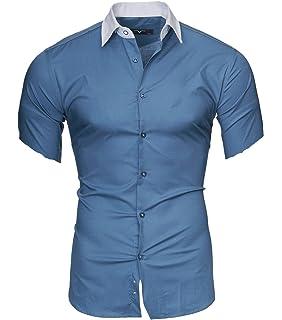 Kayhan Hombre Camisa Slim Fit Modello Corta