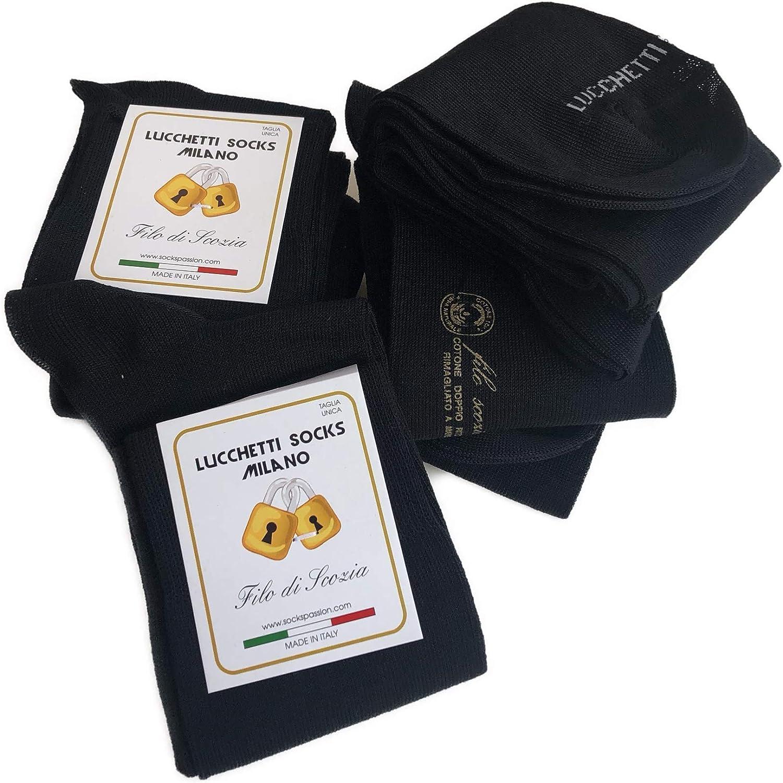 Lucchetti Socks Milano 6 paia di calze UOMO lunghe in Cotone Filo di Scozia elasticizzato