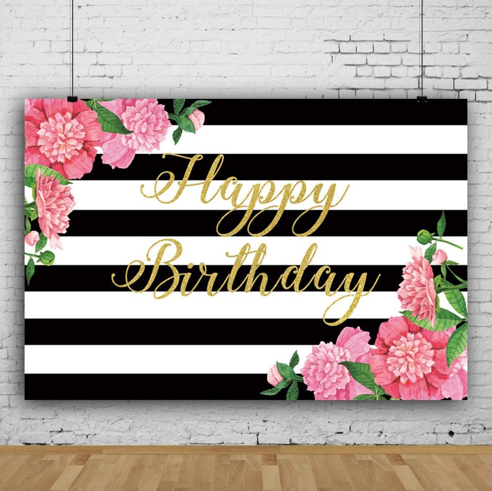 Leyiyi 15x10ft White Black Striped Happy Birthday Backdrop Pink Flower Green Leaves Glitter Gold Golden Photography Background Vinyl Photo Studio Booth Newborn Baby Shower Decoration