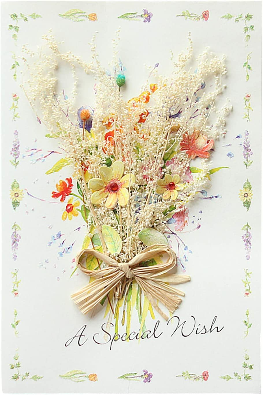 3D CARNATION DRIED FLOWER GREETING CARD MOTHER`S DAY GREETING CARD HANDMADE CREATIVE MOTHER`S DAY BLESSING CARD THANK YOU CARDS WOMEN`S DAY PAPER SCULPTURE CARD GREETING CARD (B)