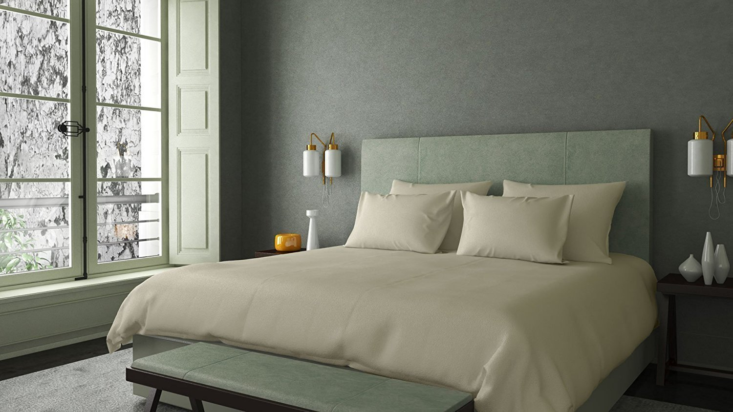 1500 Thread Count 4-PCs Sheet Set With Queen, Ivory