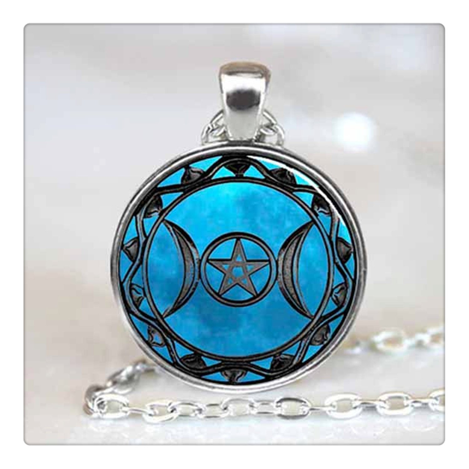 pentagram goddess dome jewelry blue women choker from triple necklaces in silver wiccan witch religious moon pendant necklace chain black glass item