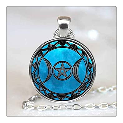 Amazon full moon necklace glass art picture triple goddess full moon necklace glass art picture triple goddess pendant wiccan jewelry moon goddess jewelry aloadofball Choice Image