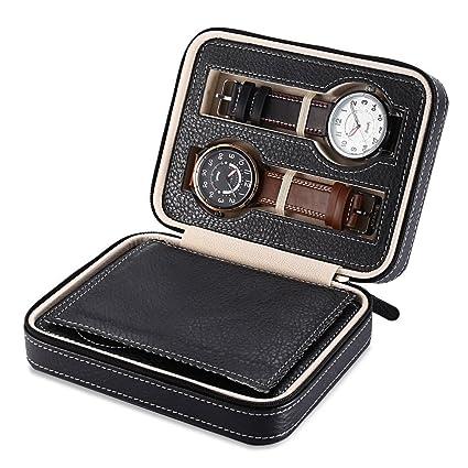 Elelight Watch Travel Case Portable Leather Zippered Watch Storage Box Display Organizer Case Best Gift For Men Women 4 Slot Black