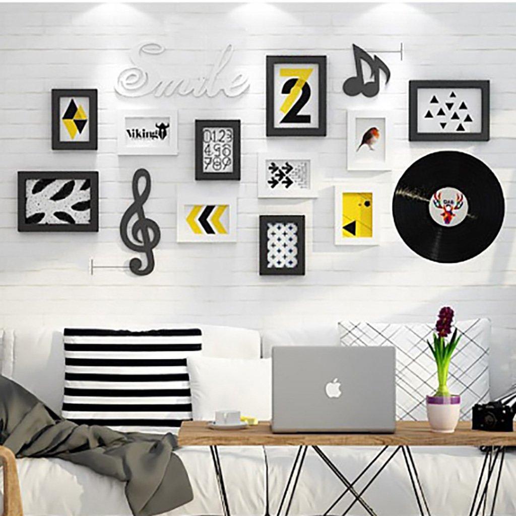 9combination Photo Frame Accesorios Decorativos geométricos Reloj de Pared de Pared de Madera Collage Creativo combinación Dormitorio Comedor Pasillo Sala ...