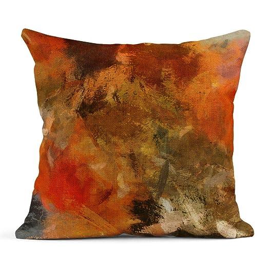 Cojín Pintura a la Acuarela Abstracto Otoño Naranja Oro ...