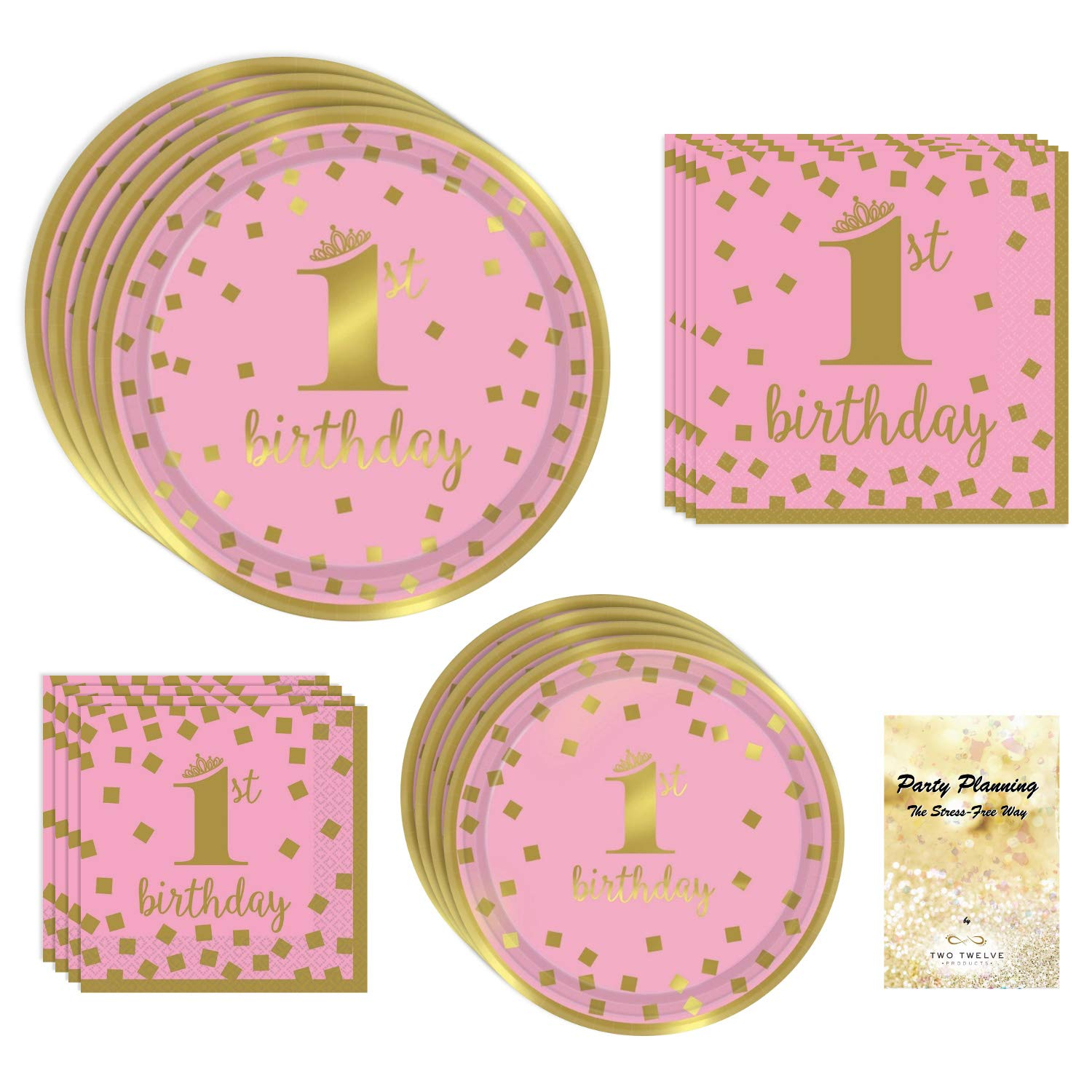 1st Birthday Girl Party Supplies, Pink and Gold Design, Bundle of 4 Items: Dinner Plates, Dessert Plates, Lunch Napkins and Beverage Napkins by TwoTwelve Products (Image #1)