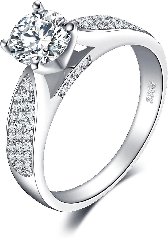 JewelryPalace Anillo 1.2ct Zirconia Cúbica Aniversario Solitario Compromiso Plata de ley 925