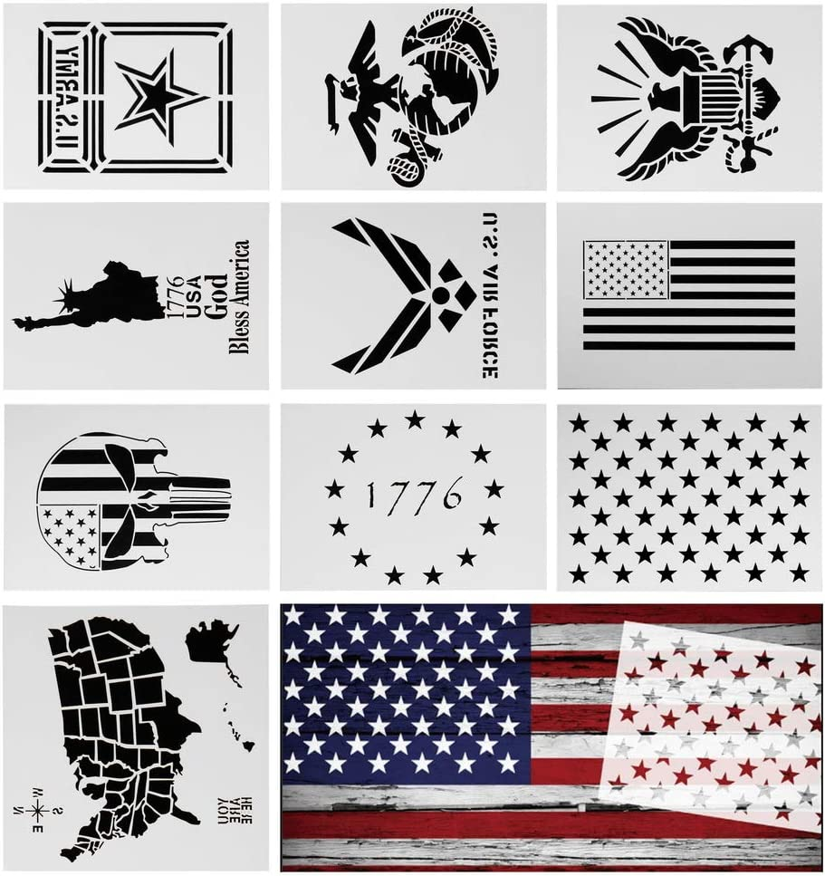 Airbrush SUPVOX 1PC Plastic Stencil Template Large American Flags Stencil Wall PaintingTemplates for Painting on Wood Fabric