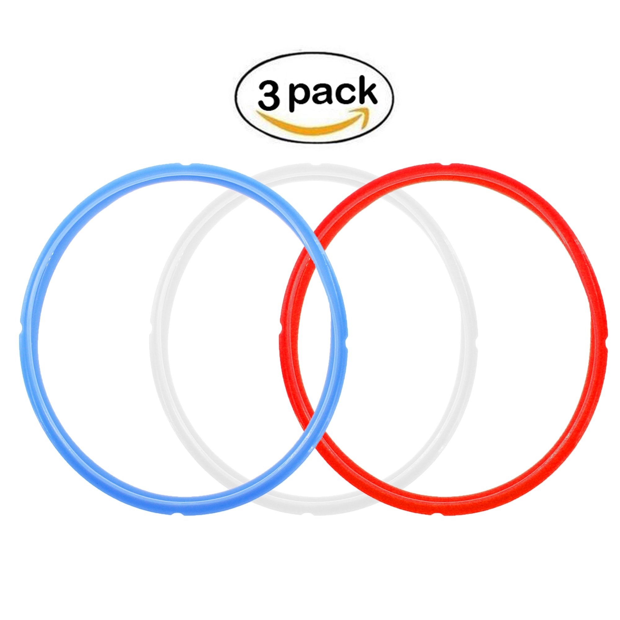 3 Pack Colorful Instant Pot Sealing Ring for 5 Quart or 6 Quart Models,Silicone Sealing Ring for Instant pot accessories (3 Pack)