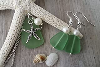 product image for Handmade in Hawaii, green peridot sea glass Necklace+Earrings Set, Freshwater pearl, starfish charm, August birthstone, (Hawaii Gift Wrapped, Customizable Gift Message)
