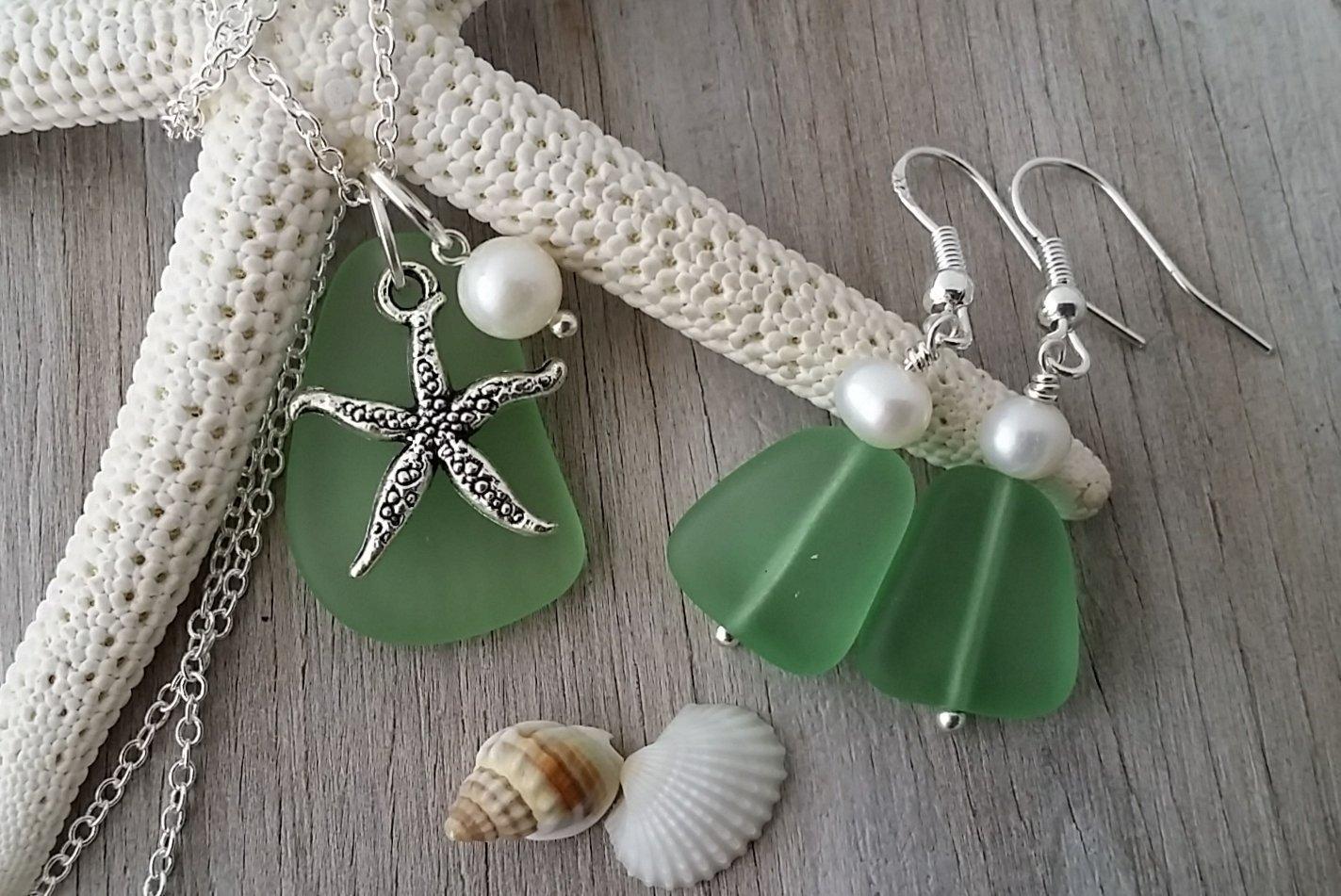 Handmade in Hawaii, green peridot sea glass necklace + earrings jewelry set, fresh water pearl, starfish charm, August birthstone, sea glass jewelry, Hawaiian Gift, FREE gift wrap, FREE gift message