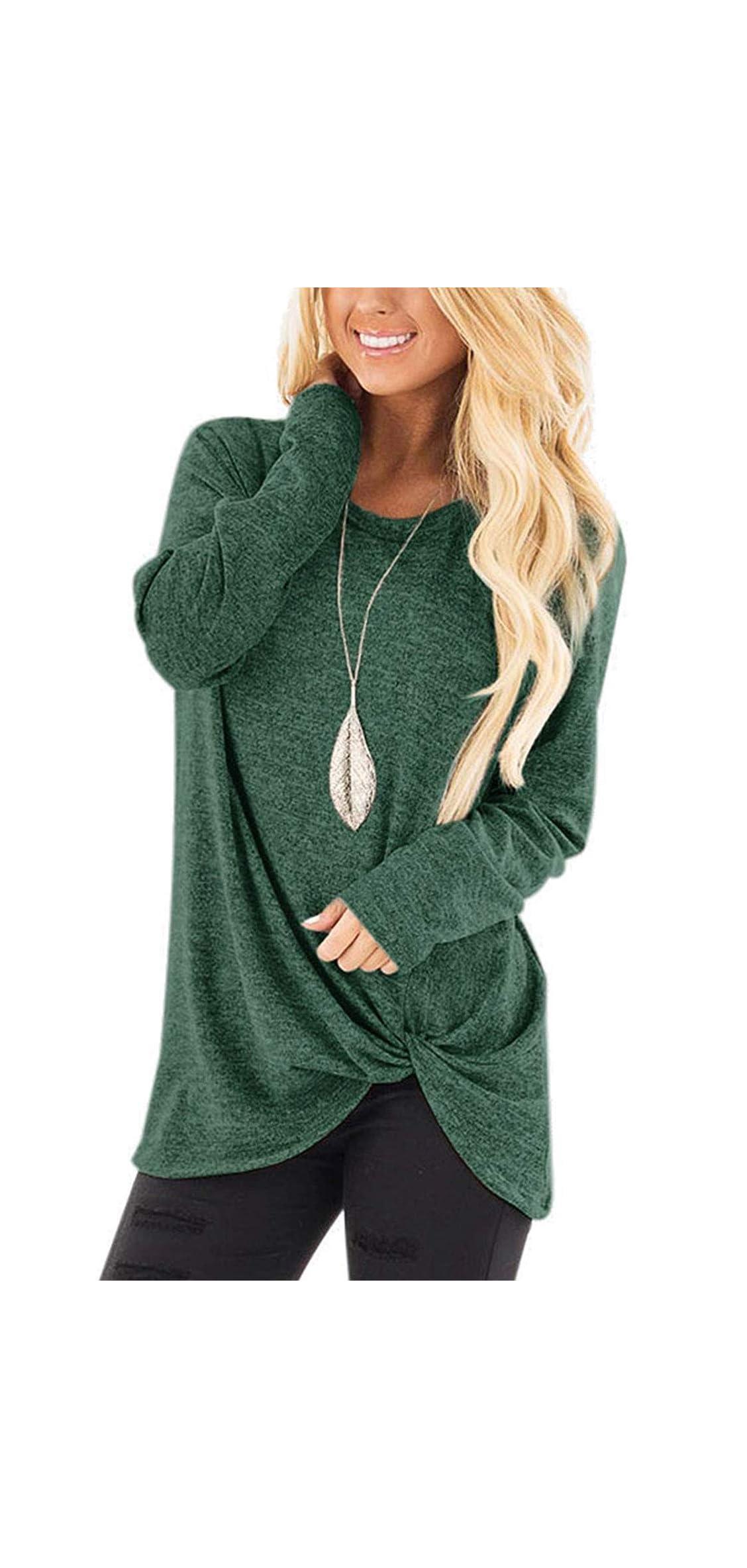 Women's Casual Solid T Shirts Twist Knot Tunics Tops