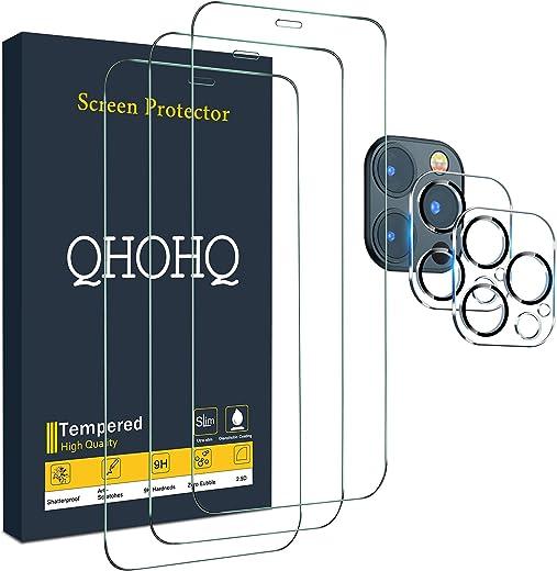 واقي شاشة QHOHQ من 3 قطع لجهاز iPhone 12 Pro Max [6.75 بوصة] مع 2 حزمة من واقي عدسة الزجاج المقسى، فيلم من الزجاج المقوى، صلابة 9H - HD - 2.5D Edge - خالية من الفقاعات - مقاومة للخدش
