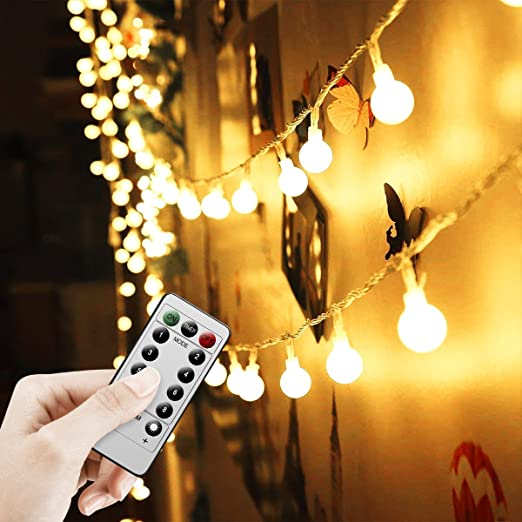 Battery Operated Outdoor String Lights Globe: Battery Powered Fairy Lights 16 Ft/5 M 50 Led