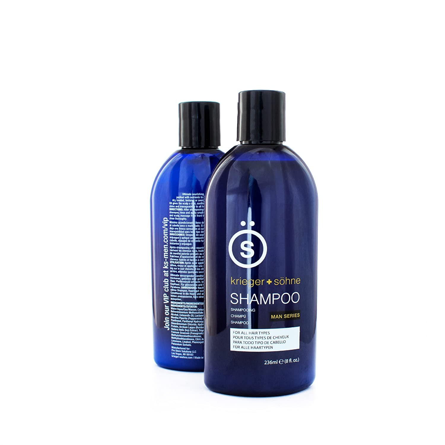 Shampoo for Mens Hair - Contains Invigorating Tea Tree Oil - Krieger + Söhne Man Series - For All Hair Types - Exploit Your Style - Single 8oz Bottle