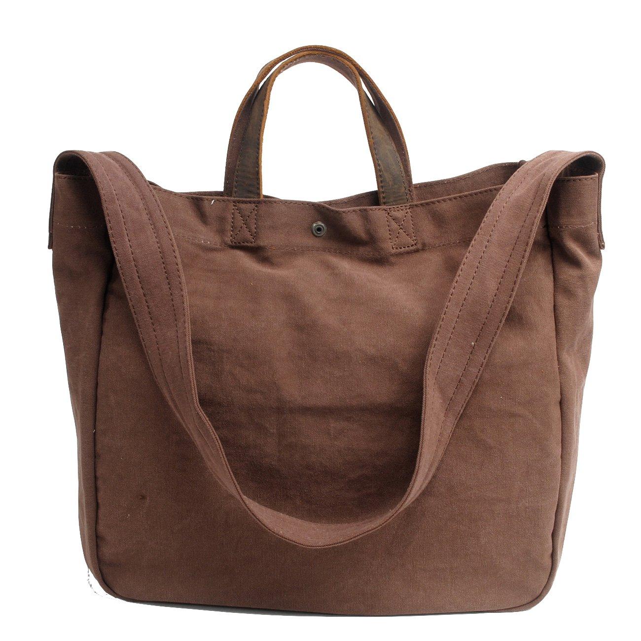 Canvas Tote Bag Shoulder Bag Crossbody Bag Heavy Duty Travel Bag For Men And Women Leather Handle Shoulder Strap (Earth)
