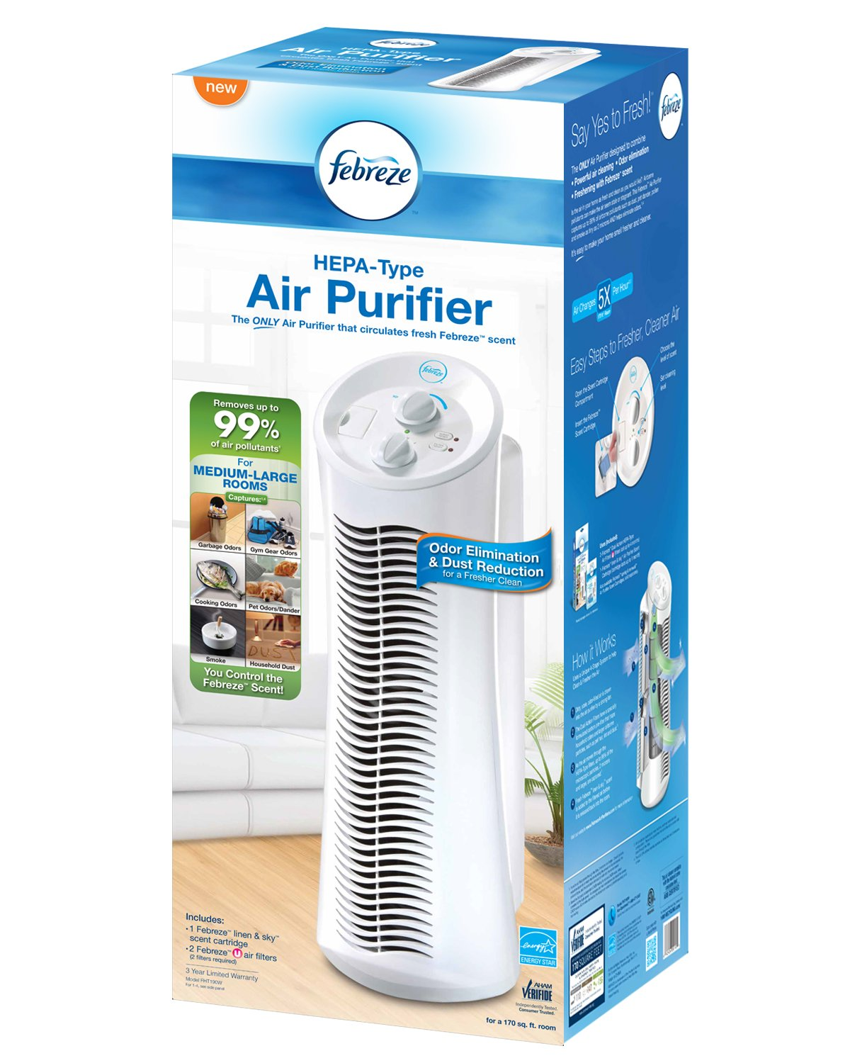 Febreze FHT190W HEPA-Type Tower Air Purifier