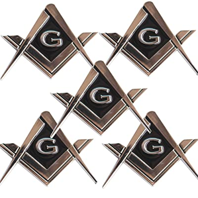 "CREATRILL 5 Pack 2.75"" Chrome Plated Masonic Car Emblem Mason Square and Compasses Auto Truck Motorcycle Decal Gift Accessories: Automotive"