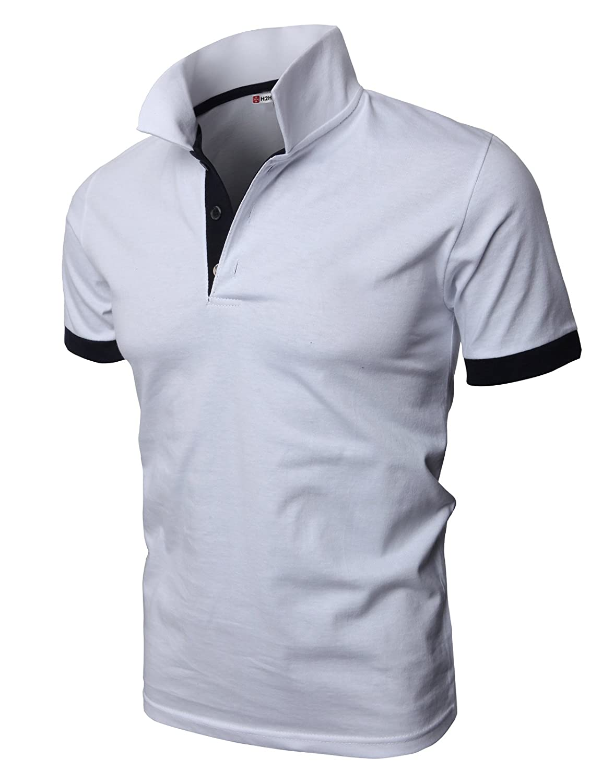 【H2H】 メンズ カジュアル ゴルフウェアー ファッション ベーシック 無地 スリームフィット ワンポイント 半袖 ポロシャツ B0186YJIJA 5L 0448-ホワイト 0448-ホワイト 5L