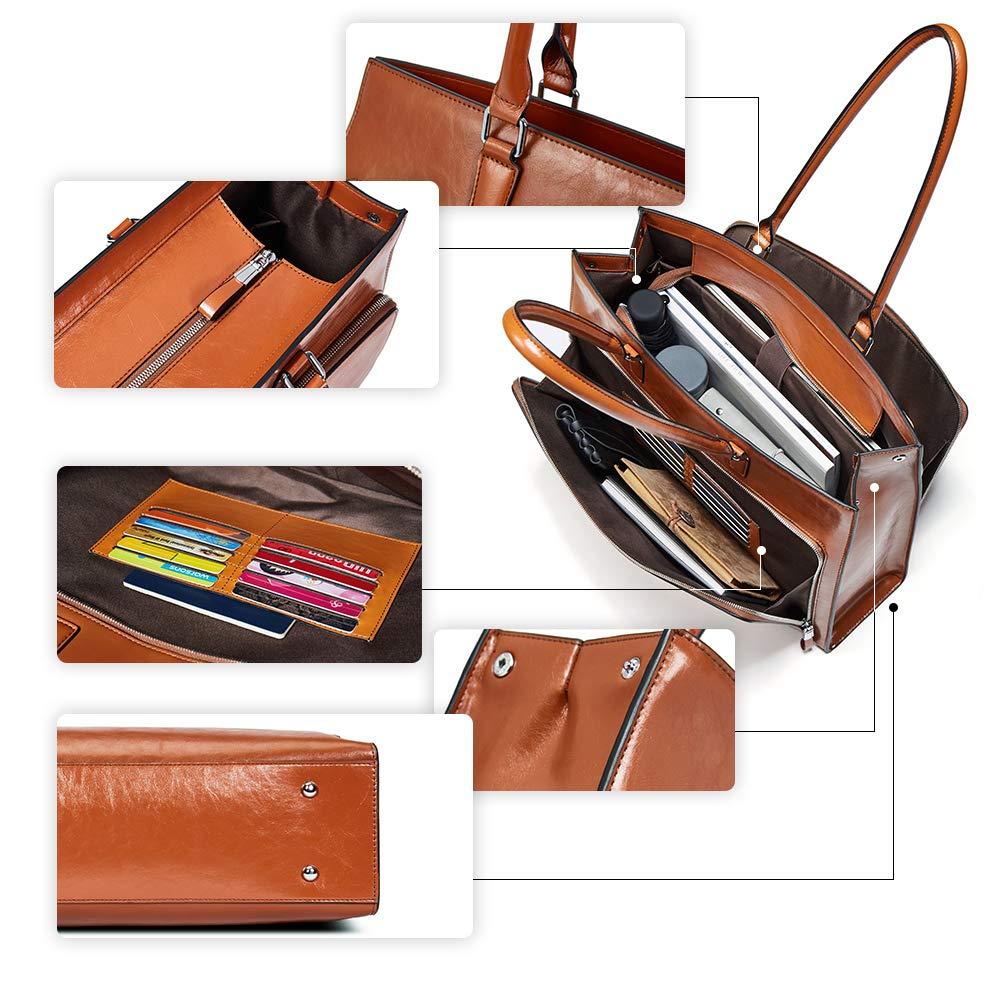 BOSTANTEN Women Leather Briefcase Vintage Shoulder 15.6'' Laptop Tote Handbags Brown by BOSTANTEN (Image #6)