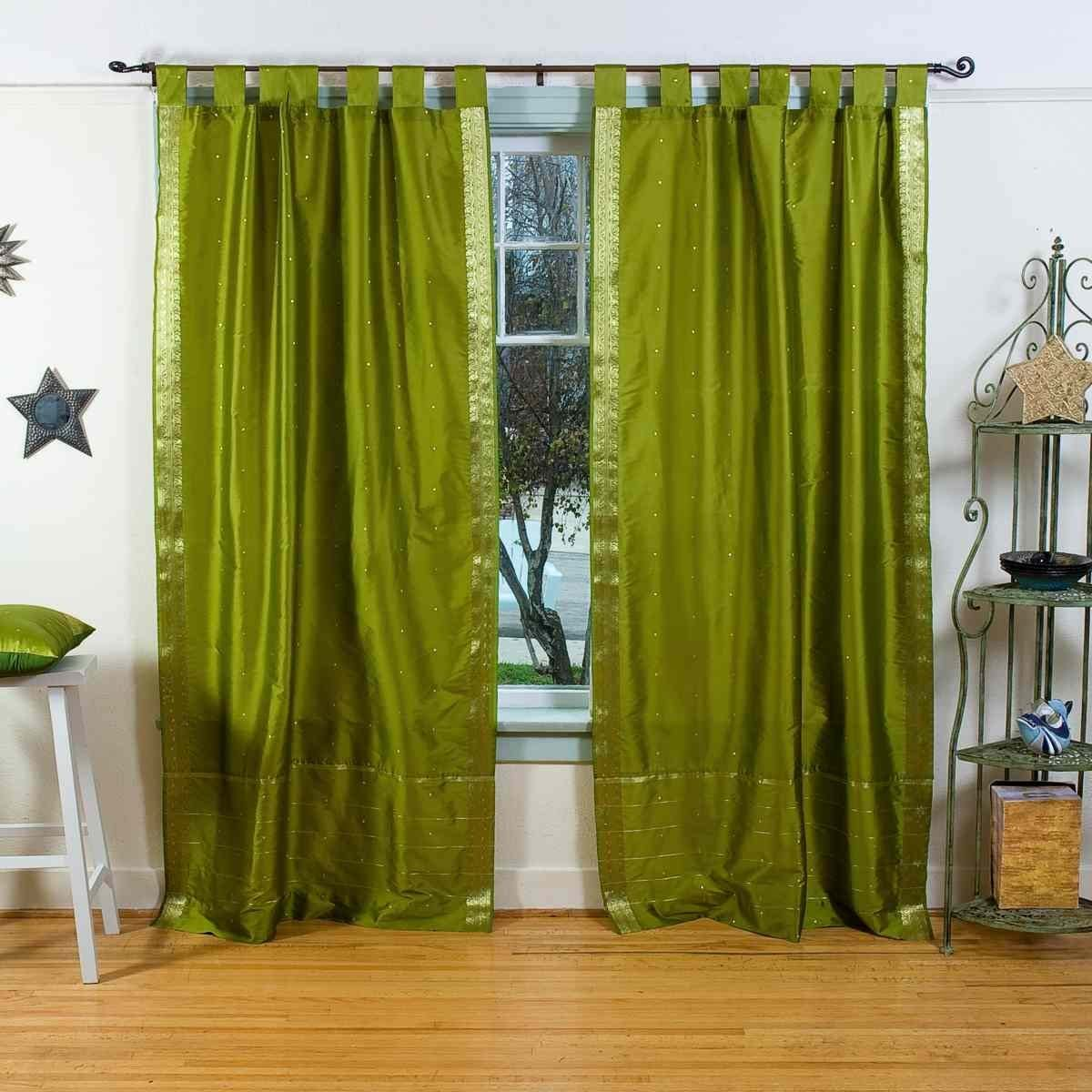 Indian Selections Lined-Olive Green Tab Top Sheer Sari Curtain Drape – 80W x 120L – Pair