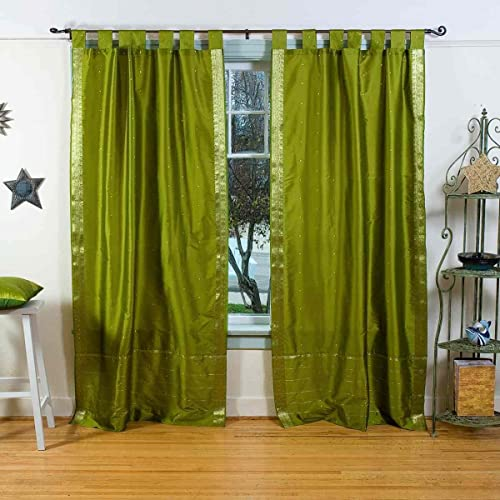 Indian Selections Olive Green Tab Top Sheer Sari Curtain/Drape/Panel
