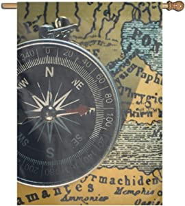 Jagfhhs Garden Flag Compass Map Lawn Party Yard Outdoor Decoration Banner Double Side House Fashion Decor