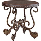 Signature Design by Ashley - Rafferty Traditional Round End Table, Dark Brown