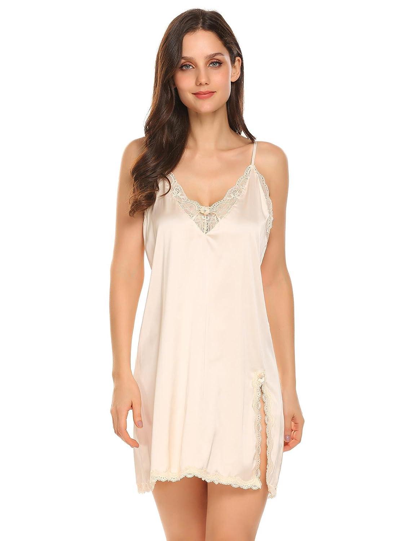 Beige Adidome Women's Sexy Satin Lingerie Sleepwear Lace Chemise Nightgown XSXXL