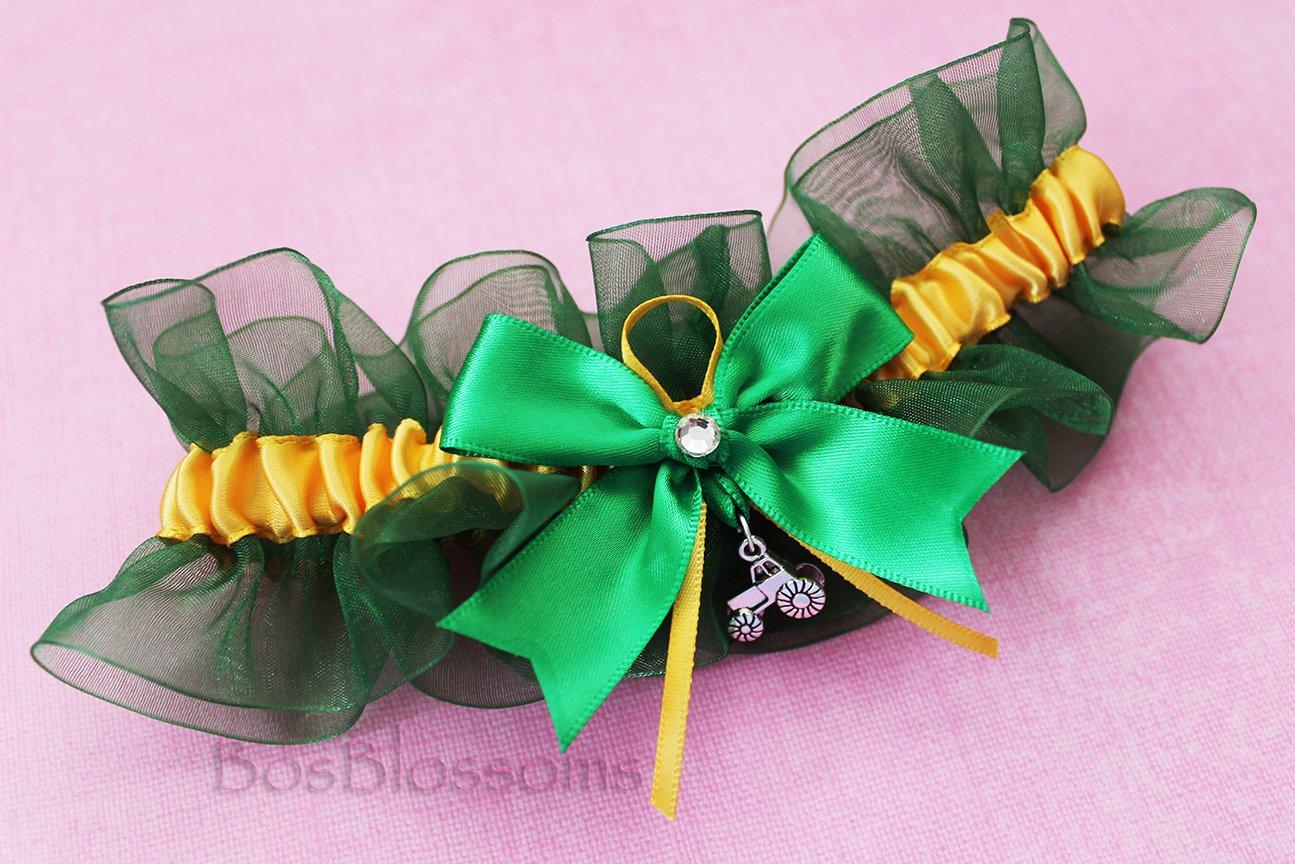 Custom fit handmade - 3D Tractor charms - Green & Yellow - satin & organza keepsake garter