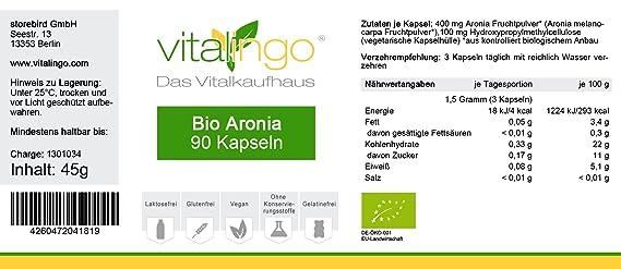 Bio Aronia bayas cápsulas - Aronia bayas cápsulas de vitalingo - 90 cápsulas á 500mg. por cápsula: 400mg frutos de Aronia polvo de la agricultura ecológica: ...