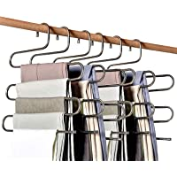Tosnail 6 Pack Multi Layers Stainless Steel Pants Hangers with 20 Hanger Clips - Great Space Saver for Your Closet…