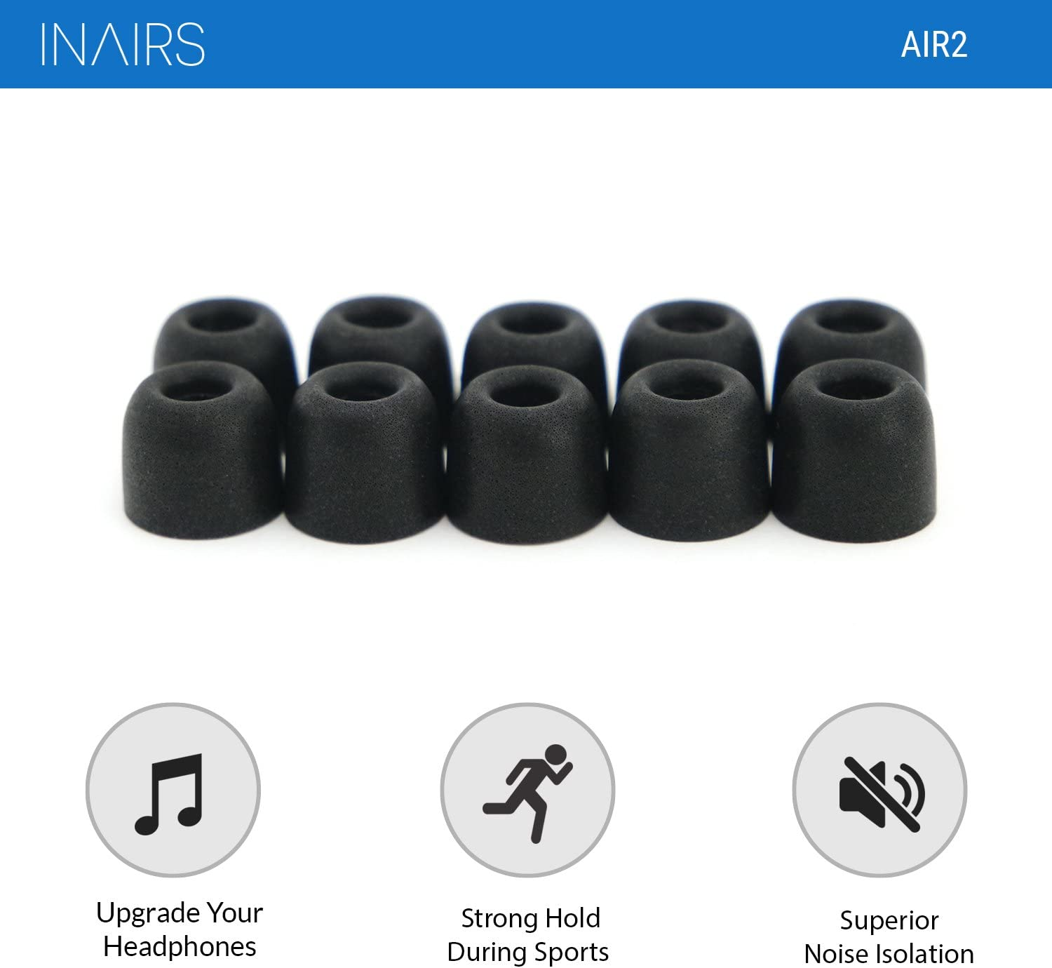 Noise Isolation Earphone Cushions for In Ear bud /& Headphones - 5 Pairs of Effective Noise Cancelling In Ear Foam Tips Rich Bass IN/ΛIRS AIR1 Replacement for Silicone bud Memory Foam Earpads L