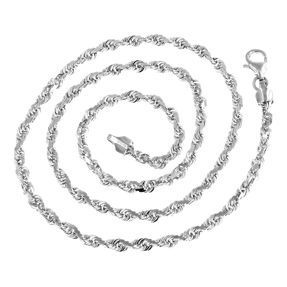 Luxurman Solid 14K White Gold 2.3mm Wide Rope Chain Diamond Cut Anklet with Lobster Clasp 10'' long