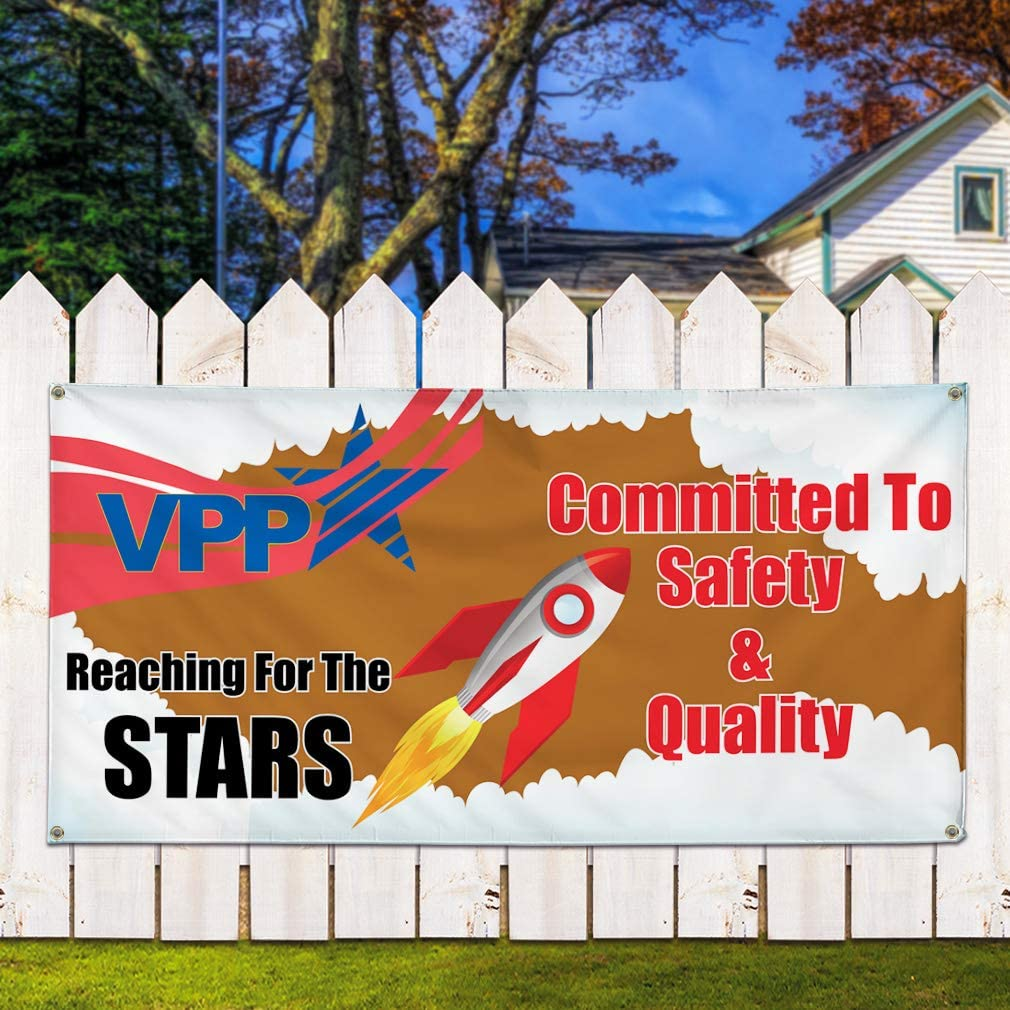 24inx60in Vinyl Banner Sign Vpp Committed to Safety /& Quality #1 Marketing Advertising White Multiple Sizes Available 4 Grommets Set of 3