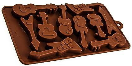Moldes de silicona en la zona de la guitarra eléctrica de diseño, chocolate, cubitos