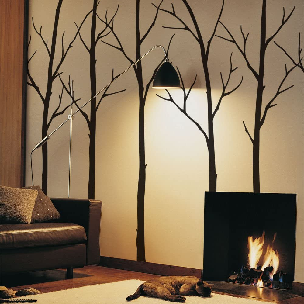 """Simple Shapes Winter Tree Wall Decals - Black - 96"""" (243 cm) Tall Trees"""