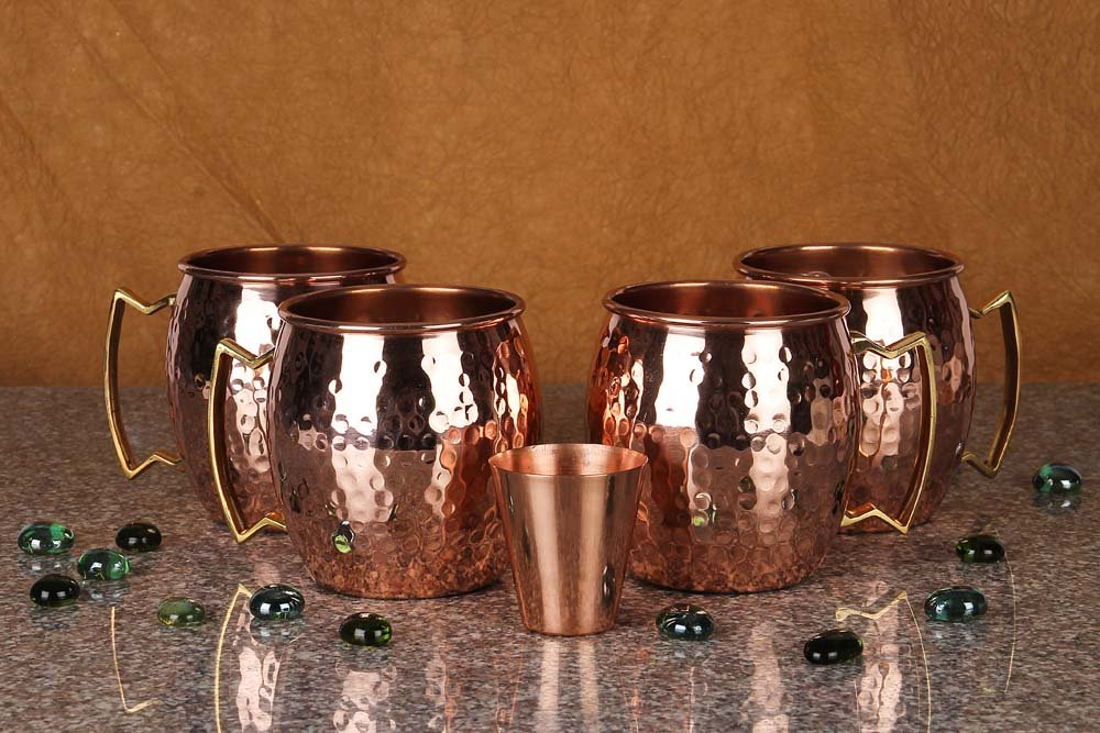 A29 Moscow Mule 100 % Solid Pure Copper Mug /Cup (16-Ounce/Set of 4, Hammered) with BONUS Shot Glass and Free Recipe Booklet by A29 (Image #2)