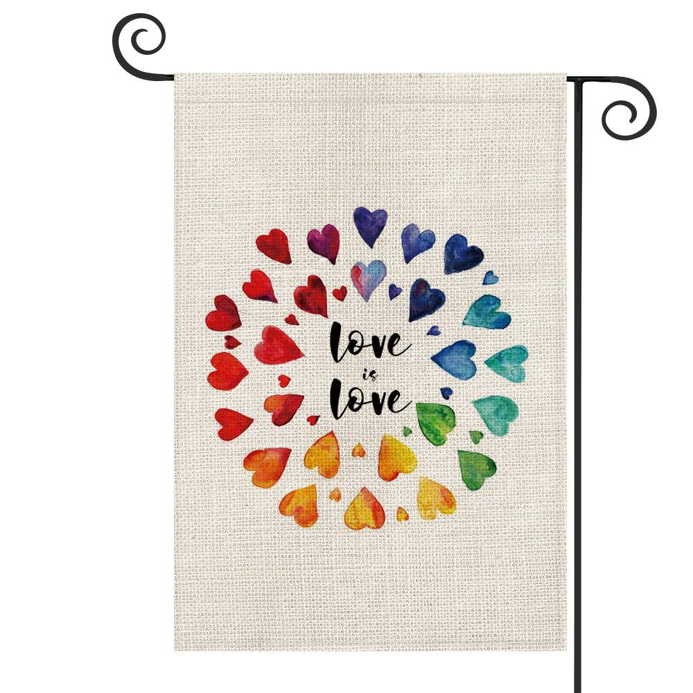 AVOIN Love Is Love Garden Flag Vertical Double Sized, Love Heart LGBT Holiday Party Yard Outdoor Decoration 12.5 x 18 Inch
