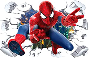 ZI XIN Superhero Wall Stickers Spider-Man Wall Decals Excellent Vinyl Wall Decor for Boys Room Living Room (Size 35.4 x 23.6 inch)