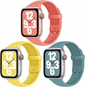 JuQBanke Sport Bands Compatible with Apple Watch Band 38mm 42mm 40mm 44mm, Soft Silicone Sport Band Replacement Strap Compatible with iWatch Series SE 6 5 4 3 2 1 Women Men (E 38mm 40mm)