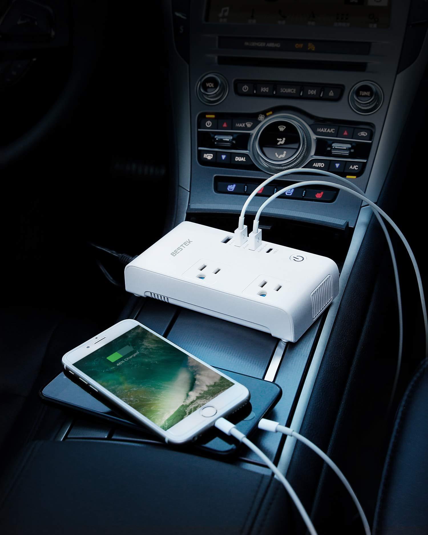 BESTEK 200W Car Power Inverter DC 12V to AC 110V Converter with 7.8A 4 USB Car Charger (1 USB-C Port, ETL Listed) Ultra Quiet by BESTEK (Image #6)