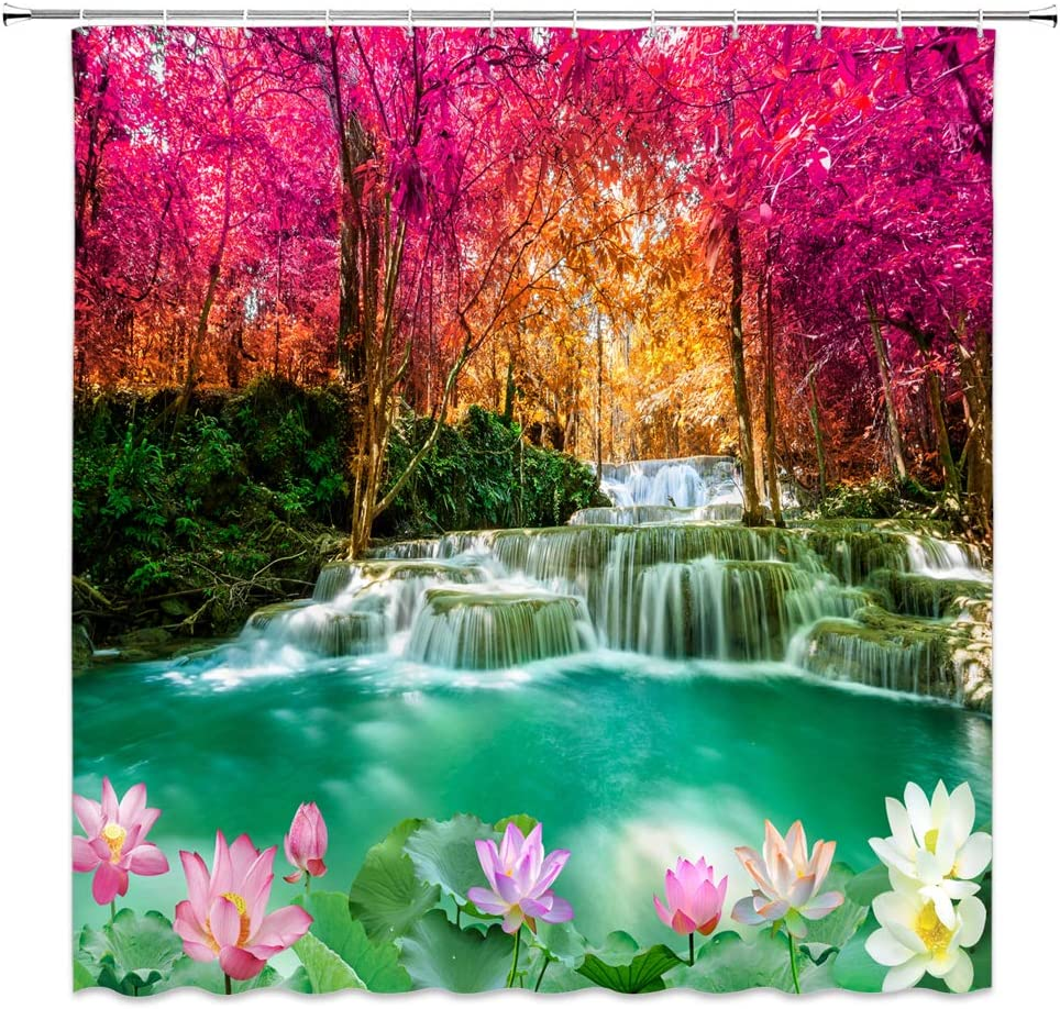 jingjiji Forest Waterfall Shower Curtain Autumn Dreamy Wonderland Green Lake Red Woods Lotus Pond Romance Natural Scenery Bathroom Decor Curtains Polyester Fabric with Hook 70 x 70 Inch