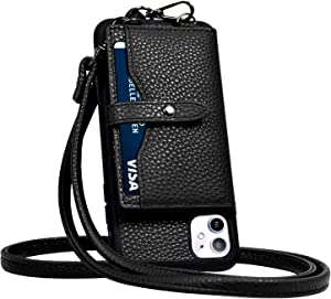 JM JUST MUST iPhone 11 Wallet Case,iPhone 11 Crossbody Case with Credit Card Holder case,iPhone 11 Strap Case,Leather Case Protective Cover for iPhone 11 6.1 inch_Black