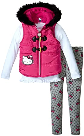 a036683f0 Hello Kitty Girls' Pink Puffer Vest with White Top and Gray Bottom with  Allover Print