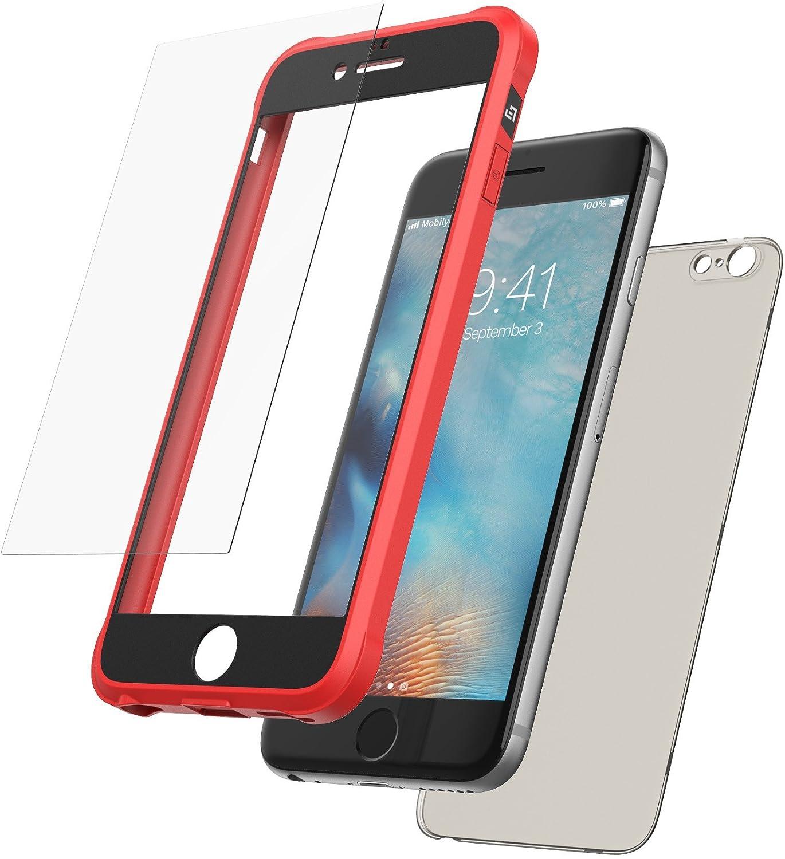 Mobilyos Funda iPhone 6s 360 Grados + Vidrio Templado, [Bumper Flexible Antigolpes ] [ Negro ] Funda iPhone 6 Integral con Trasera Transparente ...