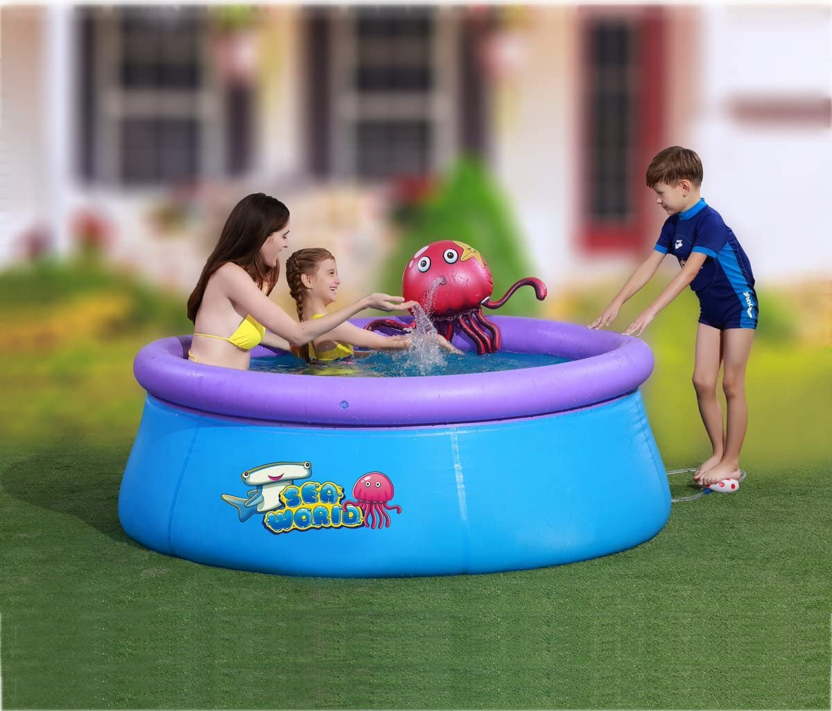 Piscina hinchable figura pulpo con spray de agua