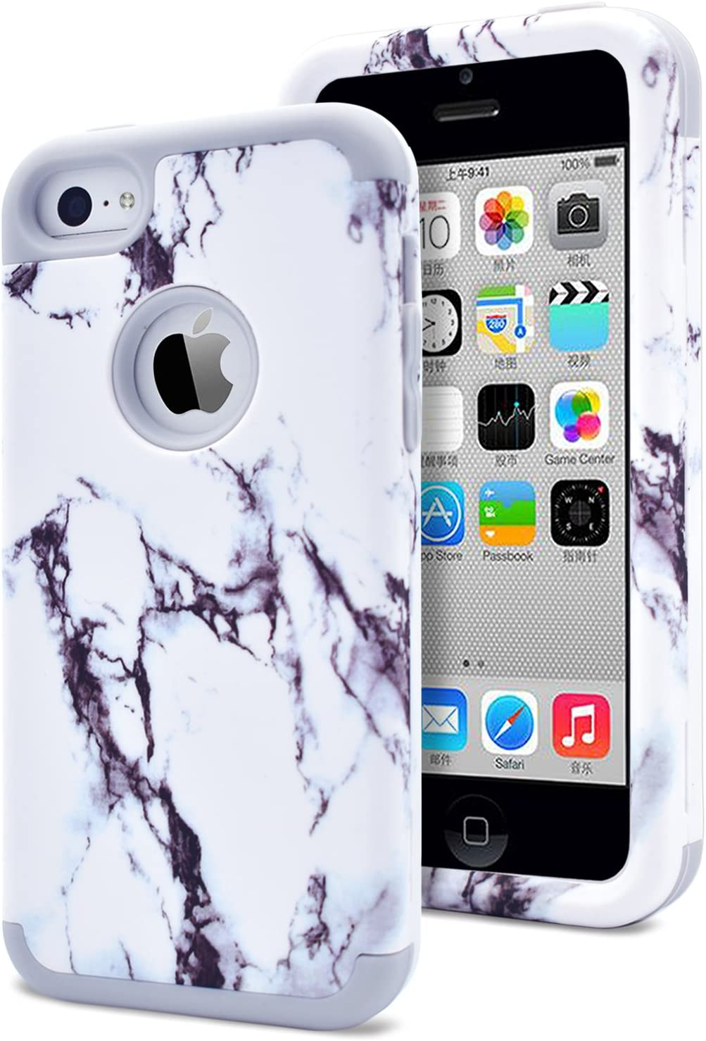 Dailylux Shockproof Case for iPhone 5 / 5C / 5S / SE, PC + Soft Silicone Three Layers Armor Anti-Slip Protective Defensive Hard Back Cover, Marble Grey
